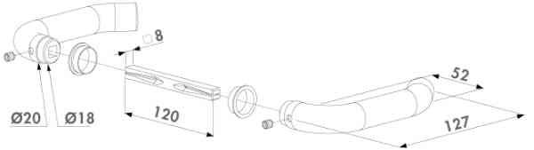 Locinox Türdrücker 3006I-H Zeichnung