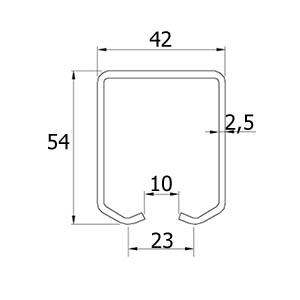 Zeichnung der hängenden Schiebetorlaufschiene ATTAS BasicLine Medio