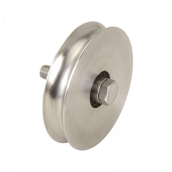Edelstahl Laufrolle mit Achsbolzen Ø 80 - 100 mm Rundnut Ø 20 mm