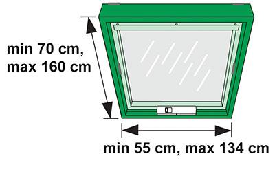 Mindest- und Maximalabmessungen Dachfenster