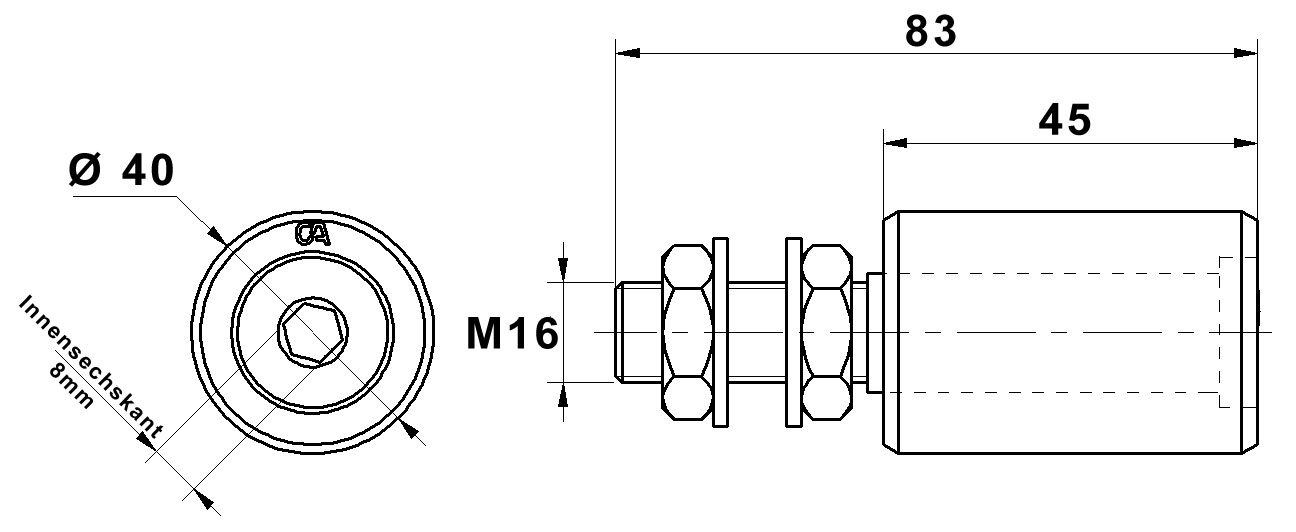 Zeichnung obere Führungsrolle CA450