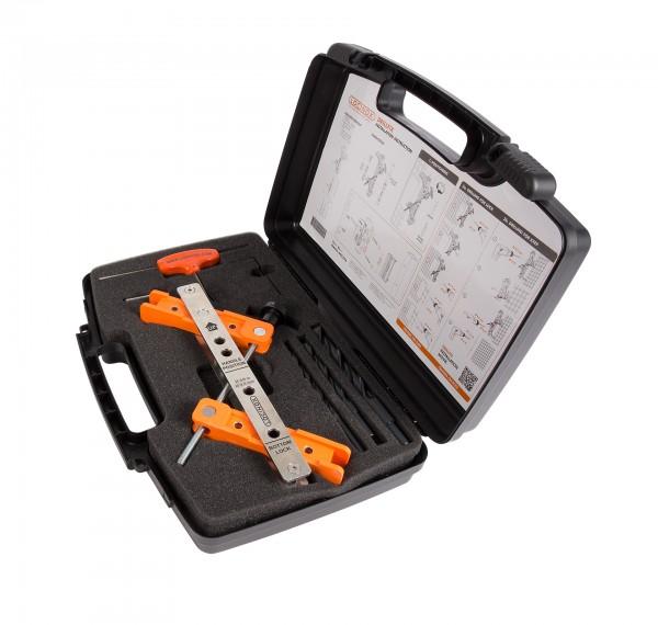 Werkzeugkoffer mit Bohrschablone für Schloss & Anschlag DRILLFIX