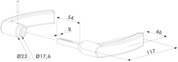 Zeichnung Locinox Türdrücker 3006P