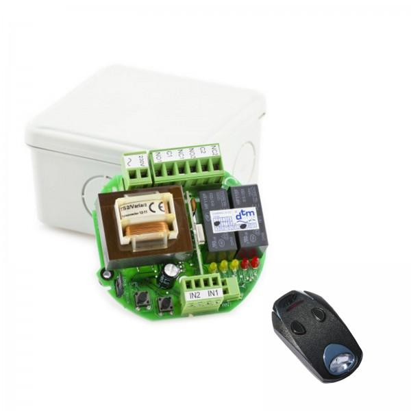 DTM Funk-Set 433 MHz, 230V Aufputz Empfänger und 2-Kanal Handsender