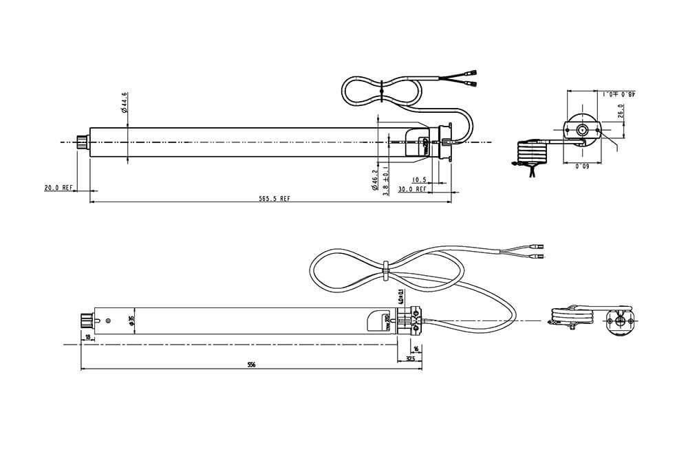eRohrmotor 12 V Zeichnung