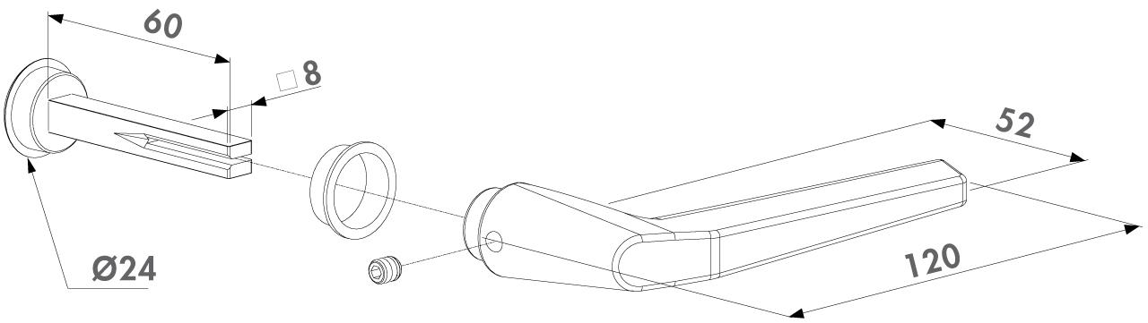 Zeichnung Locinox Drückergarnitur mit Blindstopfen 3006M-2