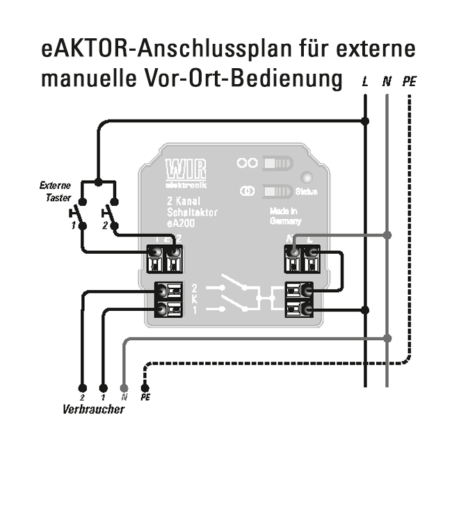 eA200 Anschlussplan Vor-Ort-Bedienung
