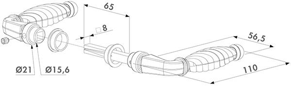 Abmessungen LOCINOOX ZAMAK Stildrückergarnitur