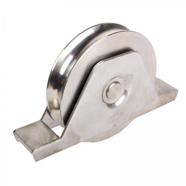 Edelstahl Laufrolle mit Innenstützplatte Ø 120 mm Rundnut Ø 20 mm