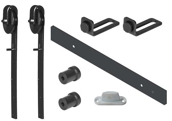 Rustikales Schiebetürsystem Schiebetürbeschlag für Türflügel bis 1m mit Nylonrolle