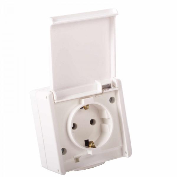 Aufputzsteckdose für außen 1-fach ultraweiss IP54