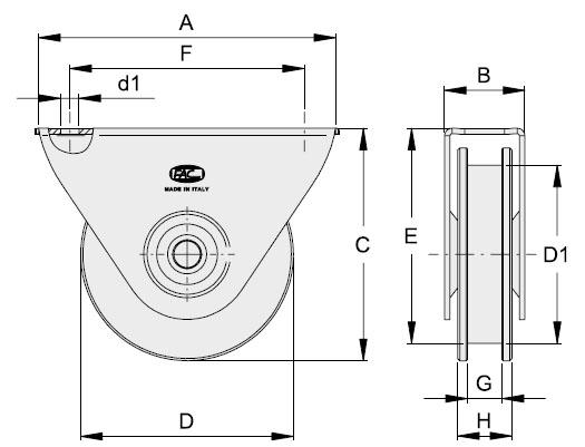 Laufrolle-mit-Anschraubplatte-UN-Zeichnung