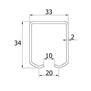 ATTAS Laufschienenprofil für hängende Schiebetore