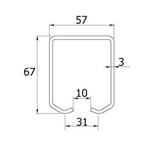 Zeichnung der hängenden Schiebetorlaufschiene ATTAS BasicLine Grande