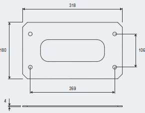 Abmessungen Montageplatte Schiebetorantrieb Bull20 HE.S
