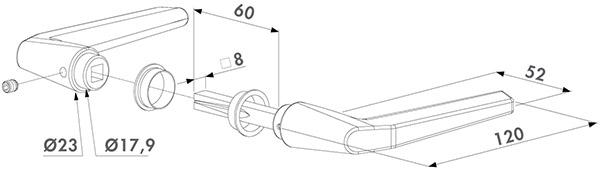 Zeichnung Locinox Türdrücker 3006M