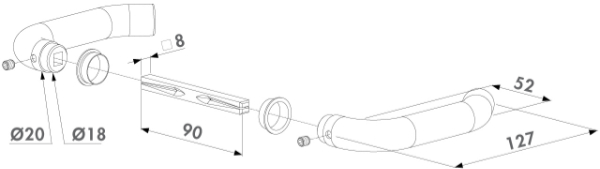 Locinox Türdrücker 3006I Zeichnung