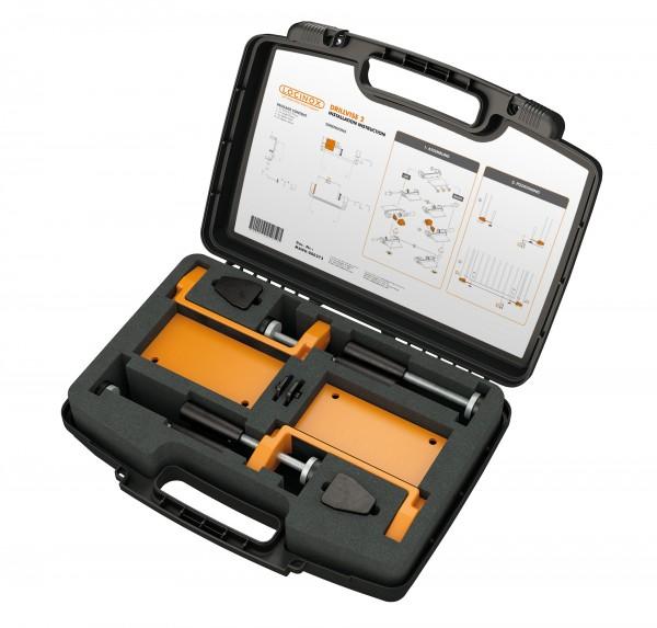 Werkzeugkoffer mit Spannvorrichtung zur Positionierung des Torrahmens DRILLVISE-2