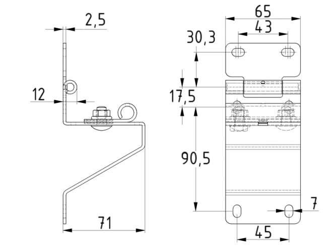 Zeichnung Seitenscharnier mit Rollenhalter