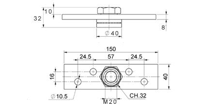Zeichnung Montageplatte ATTAS BasicLine bis 300kg